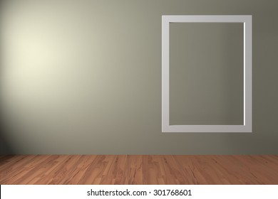 White frame float in an empty room is painted color with decorate wood floor. ,The concept can Image taken place to present their work freely.
