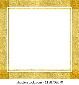 white frame line on golden ribbon certificate background, square frame white on gold ribbon template certificate banner, certificate template golden ribbon frame copy space for advertising banner