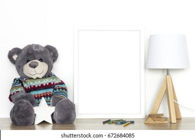 White frame. Nursery room.