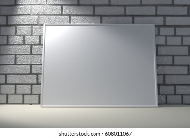 White frame on a brick wall. 3D rendering