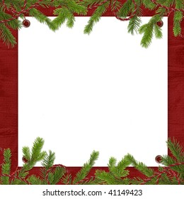 White frame with spruce branches on the claret background