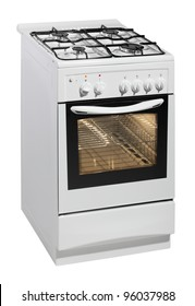 White free standing cooker isolated over white with clipping path.