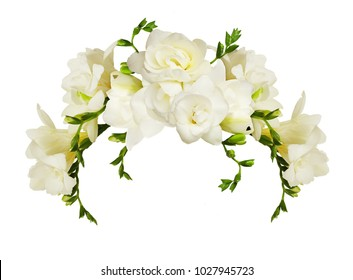 White freesia flowers in a beautiful arch arrangment isolated on white background