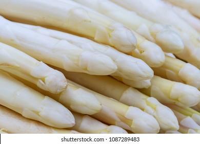 White  fresh asparagus , close up.