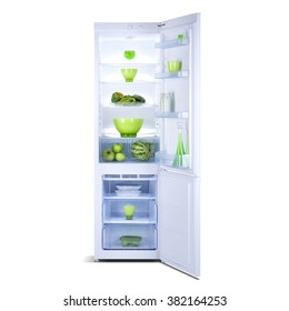 White fridge freezer with open doors and fresh vegetables and fruits inside