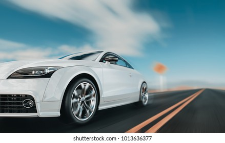 White front cars running on the road. 3d rendering and illustration.