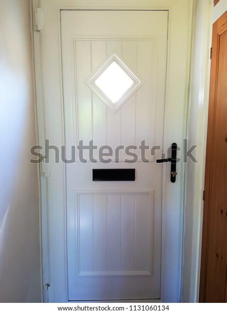 White Front Door Inside Showing Diamond Stock Photo (Edit