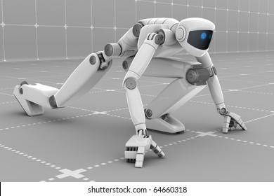 White futuristic robot ready to start