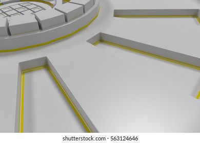 White futuristic technological background made from extruded shapes with glowing lines. Abstract background. 3D rendering illustration.