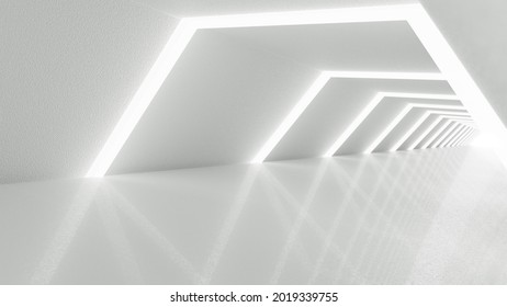 White futuristic tunnel leading to light. Wide angle. Modern style abstract 3d rendered background.