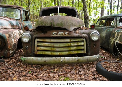 White, GA / USA - October27, 2018 - Close-up Image of an Old Scrap GMC Truck in a Junk Yard