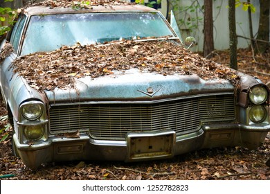 White, GA / USA - October27, 2018 - An Old Scrap Cadillac Car in a Junk Yard covered with leaves