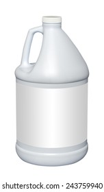 White gallon jug with empty label, isolated