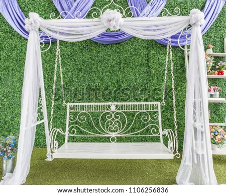 22e8ee6881 White Garden Swing Pastel Fabric Decoration Stock Photo (Edit Now ...