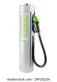 White gas pump - Battery. Use of nonconventional energy sources. 3d render image isolated on a white background.