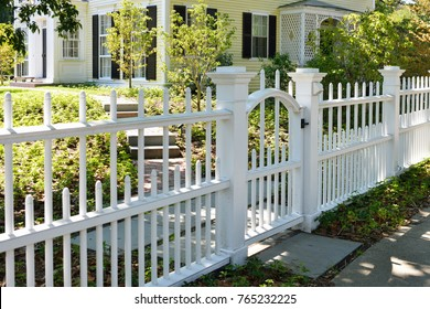 White gate and fence