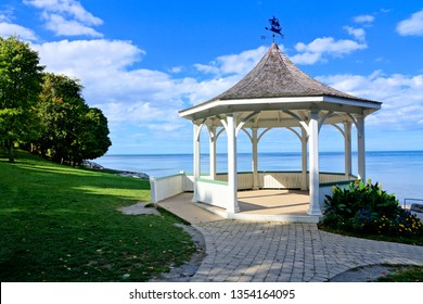 White gazebo along Lake Ontario during summer, Niagara on the Lake, Canada