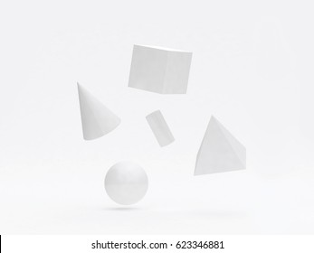white geometric shape form floating 3d rendering