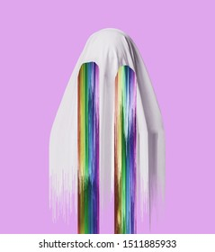 White ghost with falling rainbow from eyes on a pink background. Contemporary collage and Halloween concept.