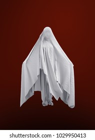 white ghost on a red background 3d image