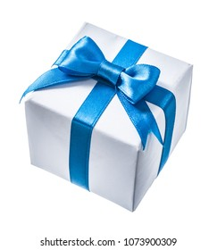 White gif box with blue ribbon isolated on white