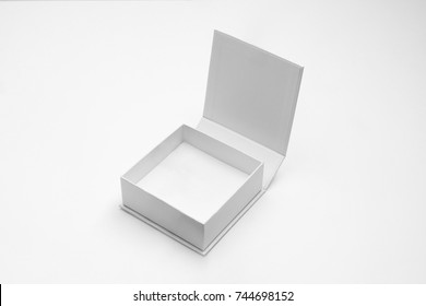 White gift box, white gift bag. Blank gift boxes and gift bags on white background with shadow. isolated. Blank Mock up files