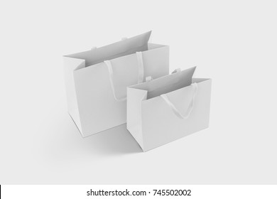 White gift box, white gift bag. Blank gift boxes and blank gift bags on white background with shadow. isolated. Blank Mock up files. white paper boxes