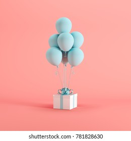 White gift box with blue ribbon and balloon on pink background. minimal christmas newyear concept. - Shutterstock ID 781828630
