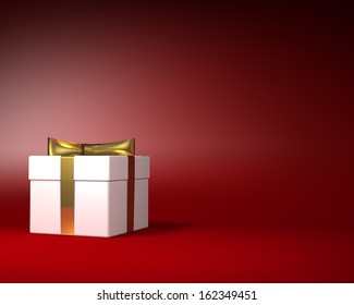 White Gift Box with Gold Ribbon and Bow on the Red Background. Space for Text