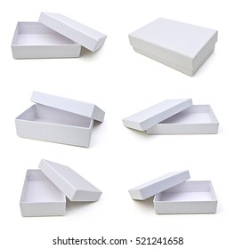 White gift box on white background