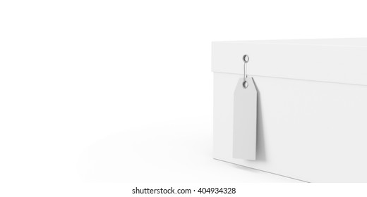 White gift box with price tag blank isolated on white background. 3D Rendering, 3D Illustration.