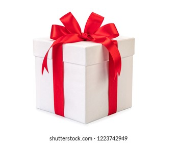 White gift box with red bow, isolated on white background