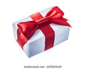 White gift box with red knot isolated on white