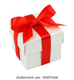 white gift box with red ribbon and bow isolated on white top view. Clipping path.