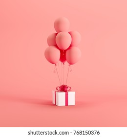 White gift box with red ribbon red balloon on red background. minimal christmas new year concept.