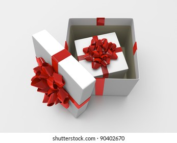 White gift box with red ribbon
