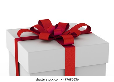 White gift box with ribbon bow isolated on white background, 3D render illustration