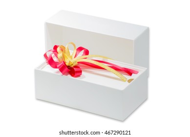 White gift box and ribbon , isolated on white