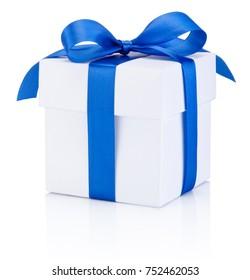 White gift box tied blue ribbon Isolated on white background