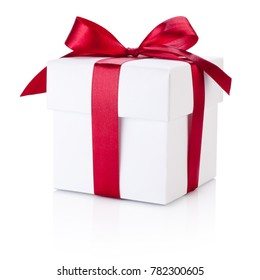 White gift box tied burgundy ribbon bow Isolated on white background