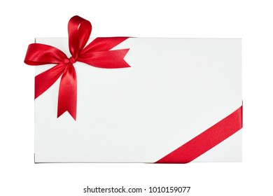 White gift box tied red ribbon isolated on white background, top view