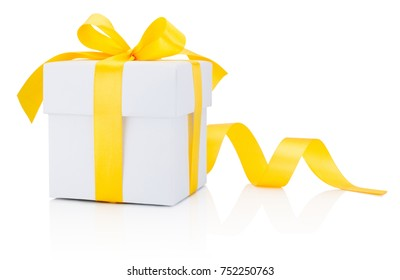 White gift box tied yellow ribbon bow Isolated on white background