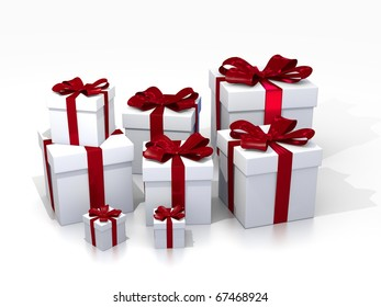 White Gift Boxes on white Background