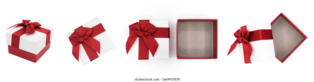 White gift boxes with red ribbon collection isolated on white background, Christmas and new year's day concept