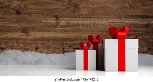 White gift boxes with red ribbons on wooden snowy background, copy space. 3d illustration