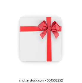 White gift with red ribbon on white background 3d rendering
