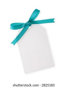 white gift tag with green ribbon bow on white background(with clipping path)