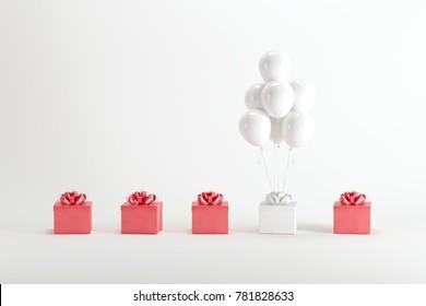 White giftbox with white ballon among red giftbox on white background. minimal christmas new year concept.