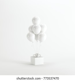 White giftbox with white ballon on white background. minimal christmas newyear concept.