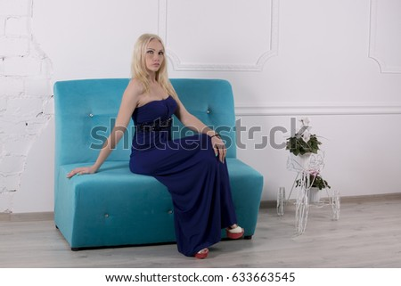 Peachy White Girl Blue Dress Sitting On Stock Photo Edit Now Squirreltailoven Fun Painted Chair Ideas Images Squirreltailovenorg